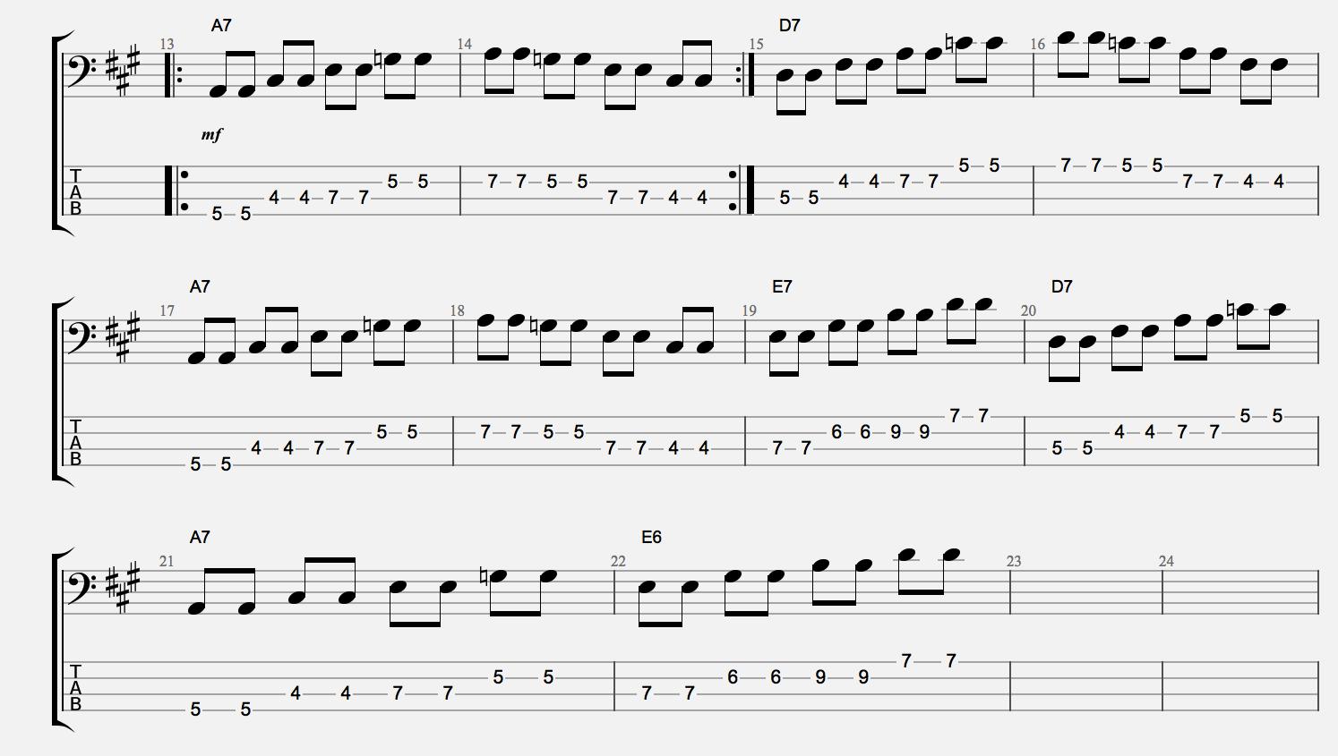 The blues js music school blues bass lines dominant 7 arps hexwebz Choice Image